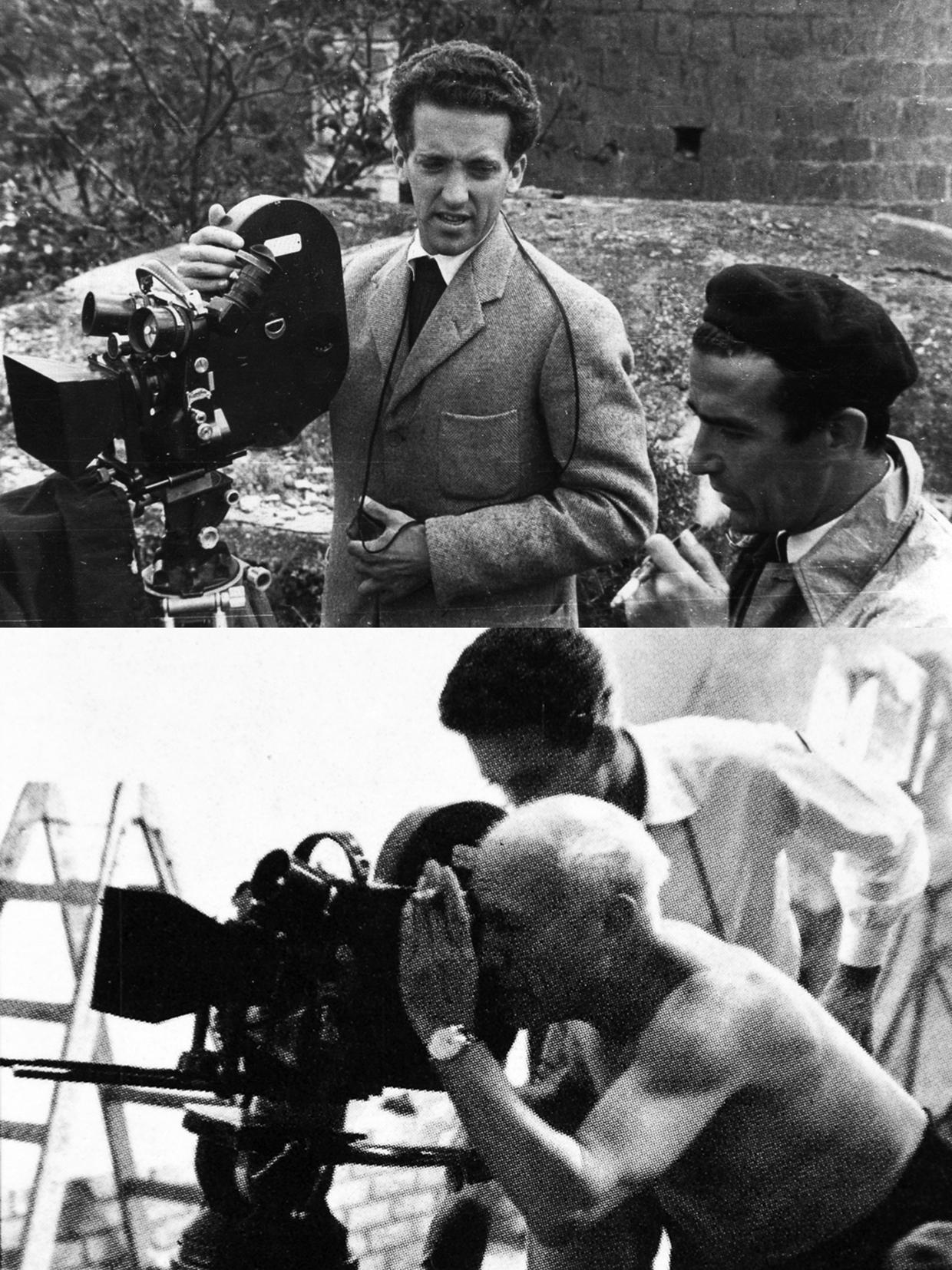 Giulio Gianini, Luciano Emmer e Pablo Picasso durante la lavorazione del documentario