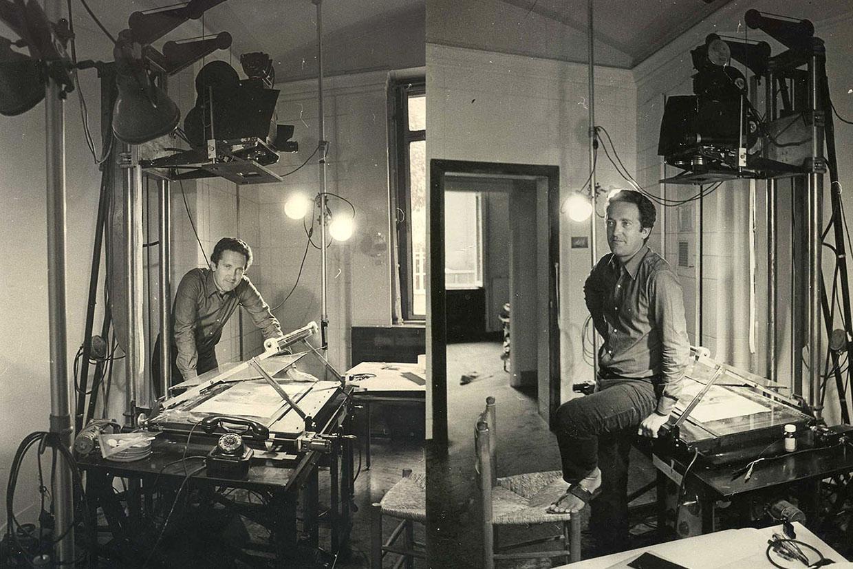 Due foto di Giulio Gianini mentre utilizza la verticale